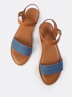 Single Denim Ankle Sandals DENIM