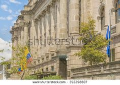 Low angle view of neoclassical style palace at the historic center of Quito in Ecuador.