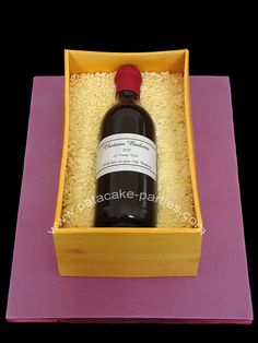 Wine Bottle In Boxcrate For My Wonderful Mother In Laws Birthday Luncheon Today Its A 12 X 7 Rich Fruit Cake Covered In Marzipan Chocolate Cigarellos, Wine Bottle Cake, Cake Designs For Kids, Cake Pop Maker, Cake Pop Stands, 75th Birthday, Birthday Cakes, Fruit Decorations, Paper Cake