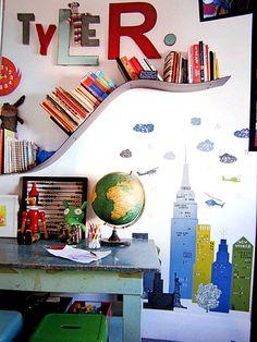 Boys bedroom. Love the bookshelf!