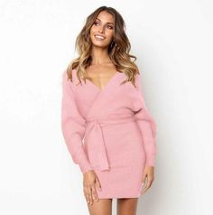 Sunny Fashion Autumn Winter Backless Sweater Dress Women 2018 Sexy V-neck Knitted Warm Bodycon Slim Belted Dresses Women's Clothing