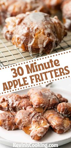 Apple fritters are an amazing fried pastry that you can make at home in only 30 minutes! Make this apple fritter recipe for a weekend treat. Visit the blog to get the recipe and instructions to make these delicious 30 minute Apple Fritters in your own home. Best Dessert Recipes, Easy Desserts, Mexican Food Recipes, Apple Fritter Recipes, Bland Food, Bakers Gonna Bake, Good Food, Yummy Food, Apple Fritters