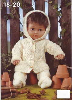 baby dolls clothes knitting pattern dolls cable hooded coat trousers socks baby reborn inch doll DK dolls knitting patterns pdf by Minihobo on Etsy Knitting Dolls Clothes, Baby Doll Clothes, Crochet Baby Clothes, Crochet Baby Hats, Baby Dolls, Toddler Dolls, Reborn Dolls, Knitted Doll Patterns, Knitted Dolls