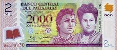 Paraguayan Guaran note. One is worth 0.00023 US dollars. (V)