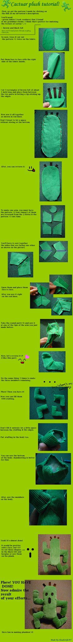 Cactuar plush tutorial by cloudstrife597.deviantart.com