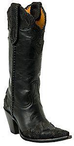 Old Gringo® Ladies Julian Black w/ Tooled Wingtip Pointed Toe Western Boots... LOOVEE... someday..