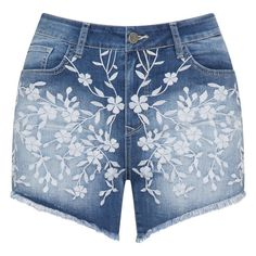 Mat Blue Plus Size Floral embroidery denim shorts ($84) ❤ liked on Polyvore featuring shorts, blue, bottoms, pants, shorts/skirts, plus size, summer shorts, denim bermuda shorts, blue denim shorts and summer jean shorts