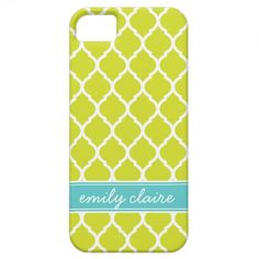 Lime Green & Aqua Chic Moroccan Lattice Monogram iPhone 5 Cover #limegreen #aqua #personalized