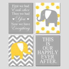 Modern Nursery Quad - Set of Four 8x10 Prints - Now We Have Everything, Chevron Elephant, Our Happily Ever After, Polka Dot Elephant. $65.00, via Etsy.