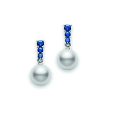 Mikimoto Morning Dew 8mm Akoya Pearl and Blue Sapphire Earrings - Fink's Jewelers