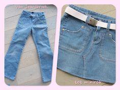 van jeansbroek naar minirokje (goed voor versleten knie-jeansbroeken)
