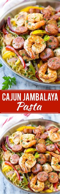 This recipe for Cajun jambalaya pasta is full of andouille sausage, shrimp, Cajun spiced chicken and vegetables, all served over creamy pasta. A hearty meal that's perfect for an everyday dinner or fo (Spicy Pasta Recipes) Pastas Recipes, Cajun Recipes, Sausage Recipes, Seafood Recipes, Chicken Recipes, Cooking Recipes, Sausage Meals, Easy Recipes, Creole Recipes