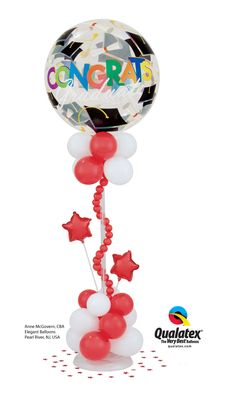 This long-lasting Bubble Balloon centerpiece is perfect for #graduation #parties! Original design by Anne McGovern, CBA, of Elegant Balloons in Pearl River, NY, USA. #balloons