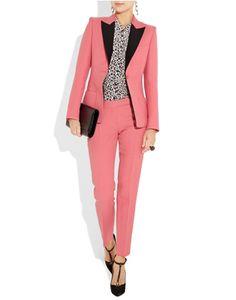 Two-Tone Twill Blazer & Cropped Pants in Bubblegum pink