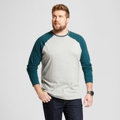 Men's Big & Tall Standard Fit Long Sleeve Baseball T-Shirt - Goodfellow & Co Green 2XBT