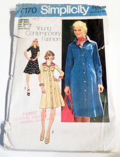 "1970s Shirtwaist Button front Denim Yoke Boho dress sewing pattern Simplicity 7170 Size 7 9 Bust 32 33"" UNCUT"