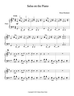 "1st page of piano sheet music for ""Salsa on the Piano"" in Level 4 (intermediate level)"