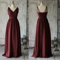 2015 Wine Bridesmaid dress, Long V neck Wedding dress, Ruched Backless Party dress, Formal dress, Prom Dress (F068)