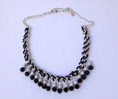 Statement Black Necklace: fashion necklace, fashion jewelry, unique necklace, unique jewelry, statement jewelry. $15.99, via Etsy.