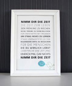 Nimm Dir die Zeit - Druck von Formart von FORMART - Zeit für schönes! auf DaWanda.com
