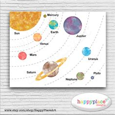 Educational Solar System Space Planets Printable by HappyPlaceArt