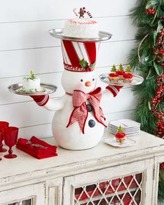 Katherine's Collection Snowman Treats Holder - Made of resin with three metal plates to serve holiday treats.Shop Snowman Treats Holder from Katherine's Collection at Horchow, where you'll find new lower shipping on hundreds of home furnishings and g Outdoor Christmas Decorations, Christmas Centerpieces, Holiday Decor, Holiday Treats, Christmas Kitchen, Christmas Home, Christmas Christmas, Christmas Projects, Christmas Crafts