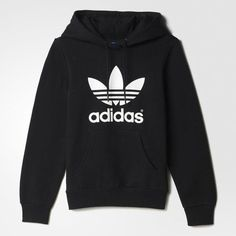adidas Trefoil Hoodie ($65) ❤ liked on Polyvore featuring tops, hoodies, sweaters, adidas, black, fleece pullover, pullover hooded sweatshirt, black hooded sweatshirt, black pullover hoodie y hooded sweatshirt