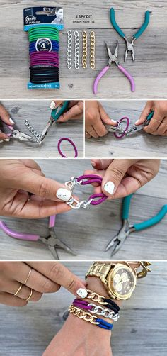 15 DIY Jewelry Craft Tutorials - Homemade Jewelry Ideas Make This Awesome Chain Hair Tie Bracelet! It's Elastic So You Don't Have To Add A Clasp! Diy Schmuck, Schmuck Design, Hair Tie Bracelet, Armband Diy, Do It Yourself Jewelry, Diy Accessoires, Diy Crafts Jewelry, Jewelry Ideas, Jewelry Trends