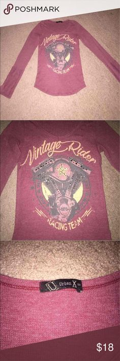 Long Sleeved Motorcycle Engine Shirt Super cute and comfy, flattering to the body. Adorable color and nice detail. Awesome for any girl who likes to ride. Size small. Tops Tees - Long Sleeve