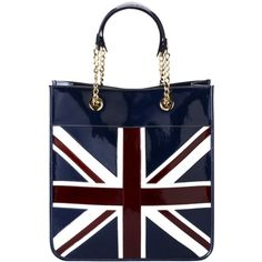 Aspinal of London Aspinal Brit Flag Small Tote Handbag, Navy blue ($475) ❤ liked on Polyvore