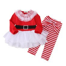 aa8d6ea4d4e8 2016 baby girls clothes Christmas long sleeve t shirt + Striped pants suit newborn  baby boy girl clothing set(China (Mainland))