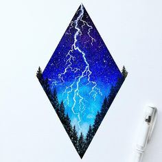 Here is my second attempt at lightning! I thought it would be cool to try do it in one of my diamond sky pieces. I'm really enjoying experimenting, lightning is so much fun to paint, and I love how this one turned out. What do you guys think? Any suggestions?? I filmed a process video for this too so keep an eye out ⚡️⚡️⚡️