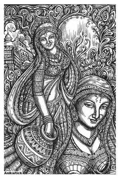 Doodle Art Drawing, Pencil Art Drawings, Drawing Artist, Art Drawings Sketches, Rajasthani Art, Lotus Art, Madhubani Art, Indian Art Paintings, Indian Folk Art