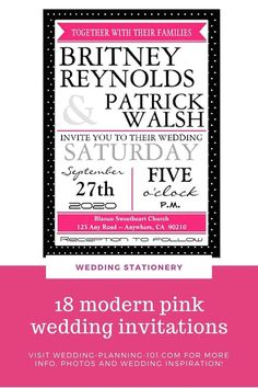 If pink is one of your wedding colors you are going to want to look for pink wedding stationery as well! Get ideas and see photos of pink wedding invitations today! #PinkWeddingInvitations #pinkweddingstationery #modernweddinginvitations #Modernpinkweddinginvitations #pinkandblackweddinginvitations