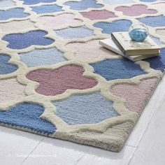 Pink And Blue Rug, Blue Rugs, Wool Rugs, Types Of Rugs, Hand Tufted Rugs, Trellis, Contemporary, Modern, Blue Denim