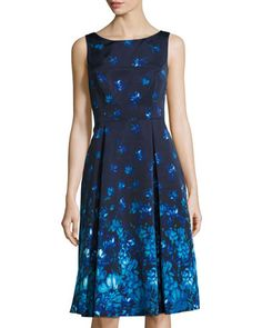 Fit-and-Flare+Floral-Print+Dress,+Blue/Multi+by+Adrianna+Papell+at+Neiman+Marcus+Last+Call.