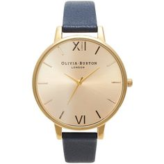 Olivia Burton Big Dial Watch - Gold & Navy ($105) ❤ liked on Polyvore featuring jewelry, watches, accessories, gold dial watches, olivia burton watches, vintage style jewelry, navy blue jewelry and navy jewelry