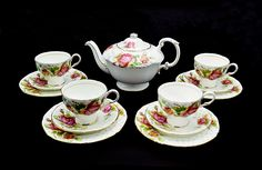 Paragon Golden Emblem Tea Set, Teapot And Four Cup And Saucer Trios Grey And White Kitten, China Patterns, Cup And Saucer Set, Bone China, Candlesticks, Valentine Gifts, Tea Cups, Etsy Shop, Chocolate