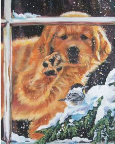 Items similar to Golden Retriever dog art CANVAS print of LA Shepard painting on Etsy Golden Retriever Art, Retriever Dog, Golden Retrievers, Dog Paintings, Original Paintings, Canvas Art Prints, Fine Art Prints, Christmas Art, Christmas Paintings