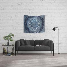 Indigo Nouveau Shibori Mandala Wall Tapestry Mandala Tapestry, Wall Tapestry, Pastel Floral, Wood Wall, Indigo, Throw Pillows, Couch, Bedroom, Shibori