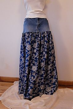 Denim & Paisley Long Skirt -  Upcycled Long Denim Skirt. $68.00, via Etsy.