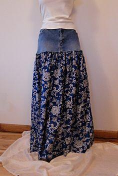 Denim & Paisley Long Skirt -  Upcycled Long Denim Skirt. $68.00, via Etsy.