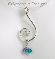 Silver Spiral Couple's Pendant with Two Swarovski Crystal