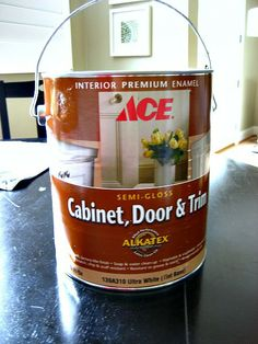 Ace Hardware Cabinet, Door and Trim Alkyd Enamel. Self levels like oil based paint but easy cleanup of a water based paint.