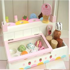 Mother Garden colorful wooden toy ice cream parlor set for kids. Any child will love this set! Ice Cream Shop Toy, Play Ice Cream, Ice Cream Parlor, Colorful Ice Cream, Toddler Themes, Diy Play Kitchen, Activity Room, Baby Room Diy, Space Toys