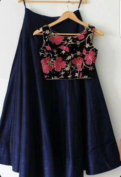 Indian Designer Navy Blue Plain Lehenga with stitched floral embroidery Choli Plain Lehenga, Red Lehenga, Lehenga Choli, Navy Blue Lehenga, Bridal Lehenga, Anarkali, Indian Attire, Indian Wear, Indian Navy
