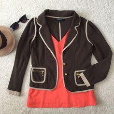 Knit Cardigan Blazer With Beige Detail