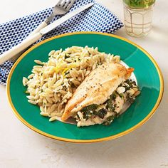 Healthy Version Of Greek Stuffed Chicken Breasts with Lemon Orzo...yummy!