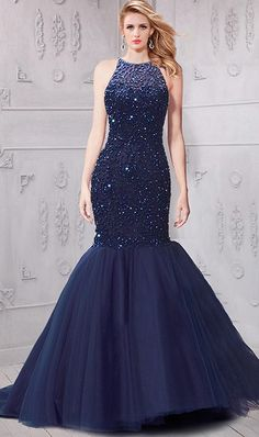 Chic Mermaid Navy Blue Tulle Beaded Sparkly Prom Dress