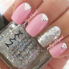 WANT!! Pink Nails with Silver Glitter Accent by Pretty Nails by Mal